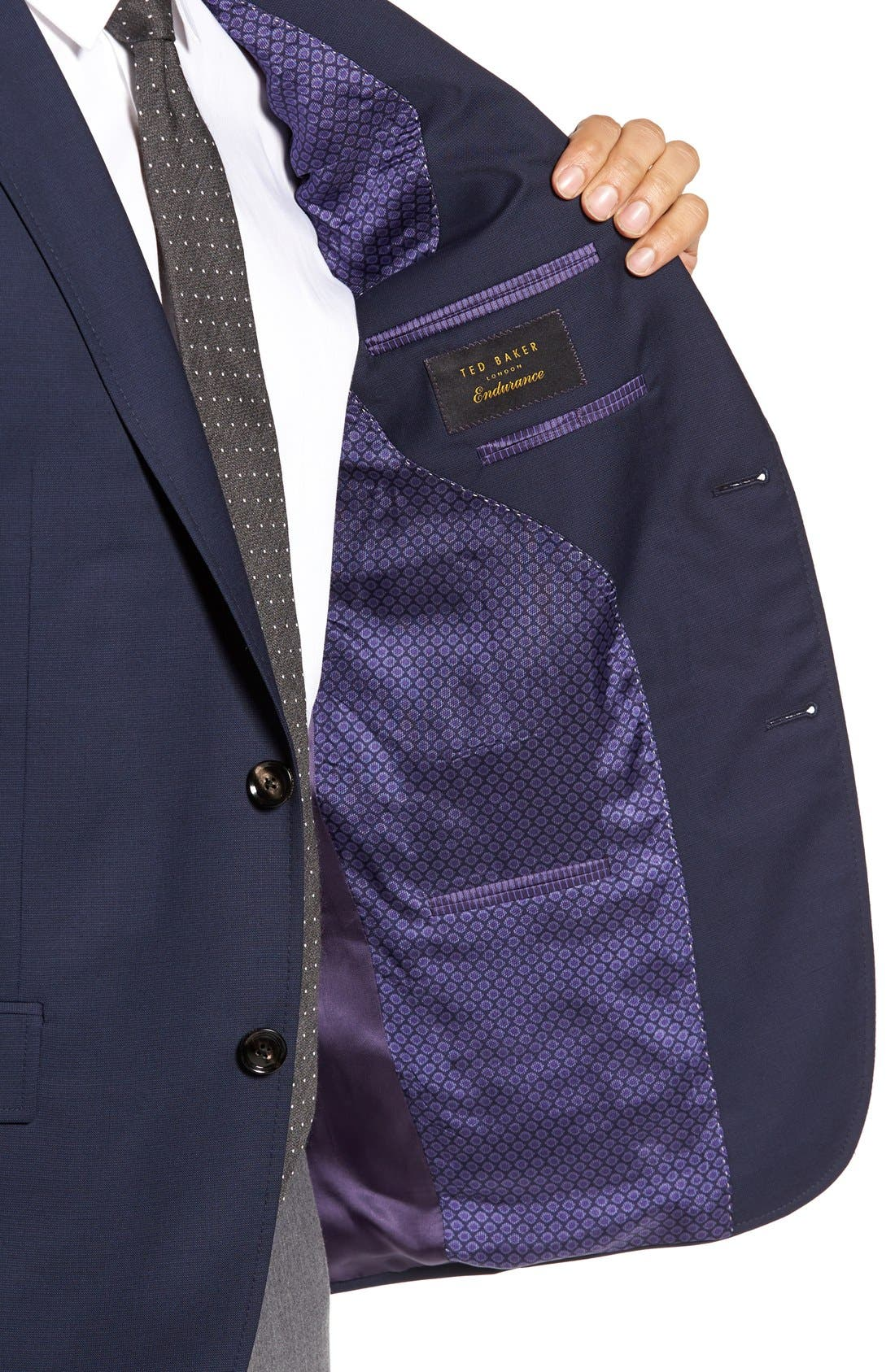 Trevi Trim Fit Wool Blazer,                             Alternate thumbnail 4, color,                             Navy