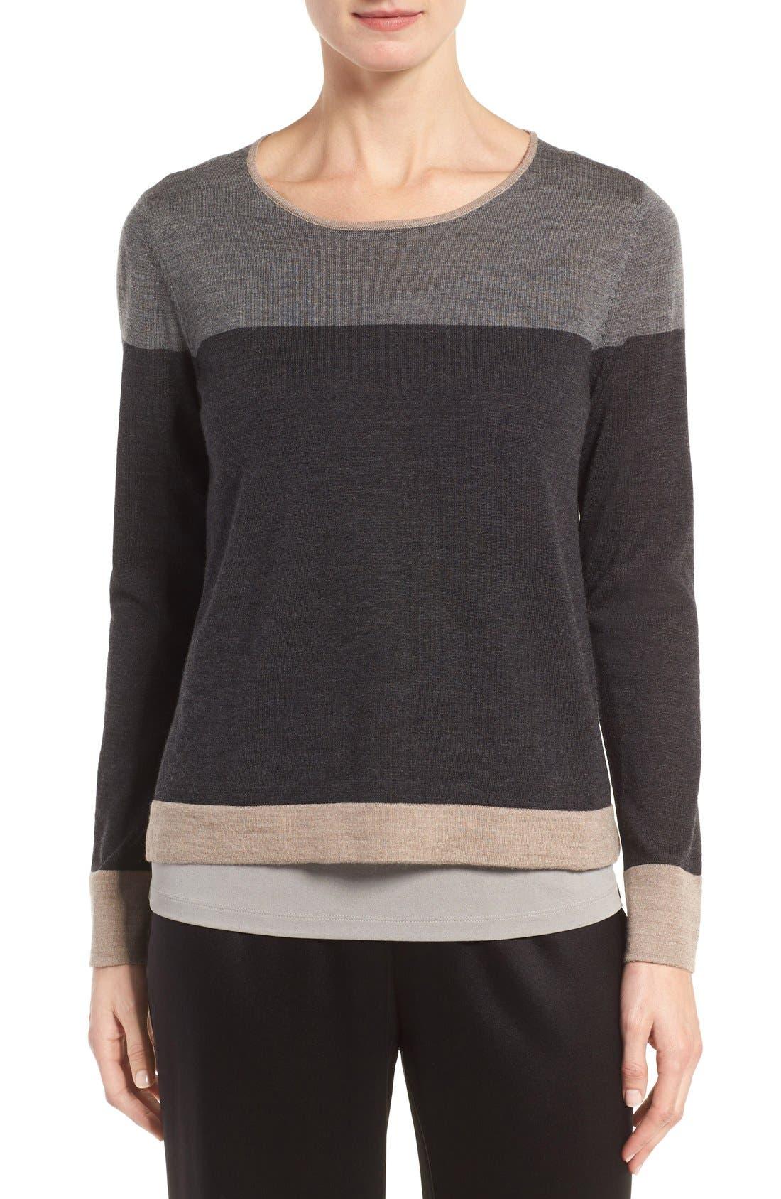 Alternate Image 1 Selected - Eileen Fisher Colorblock Merino Wool Sweater (Regular & Petite)