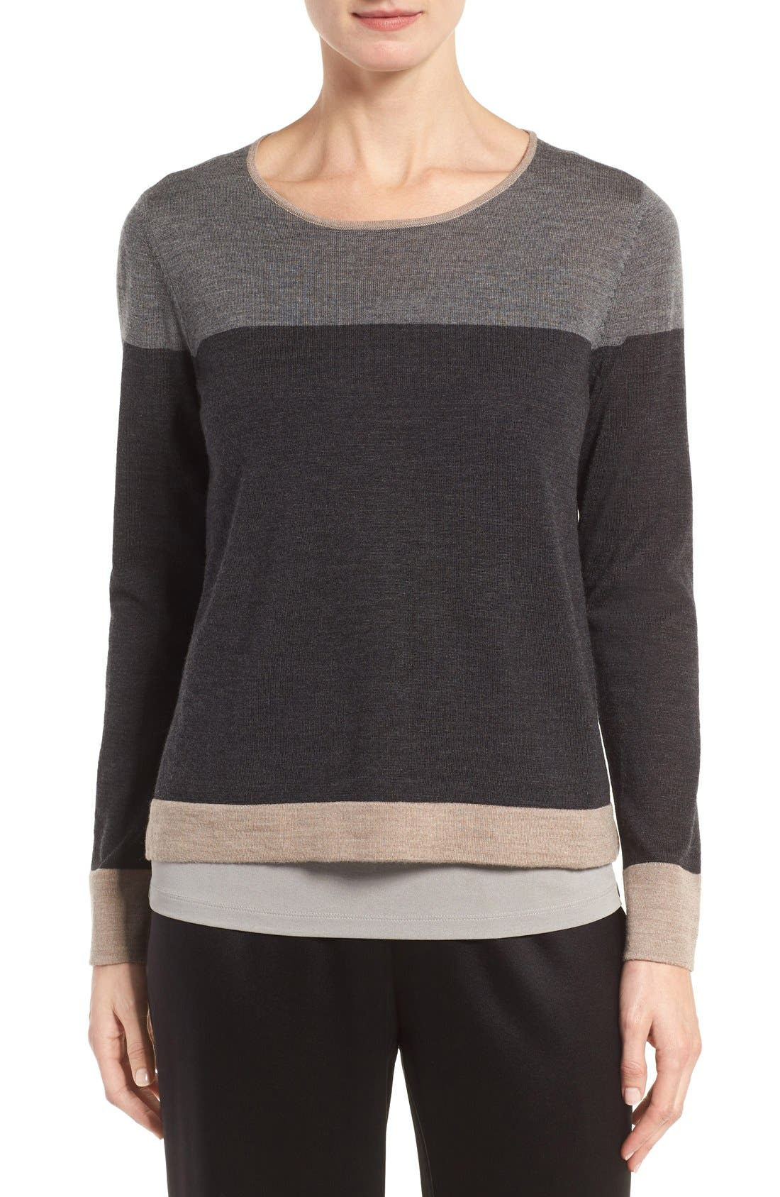 Main Image - Eileen Fisher Colorblock Merino Wool Sweater (Regular & Petite)