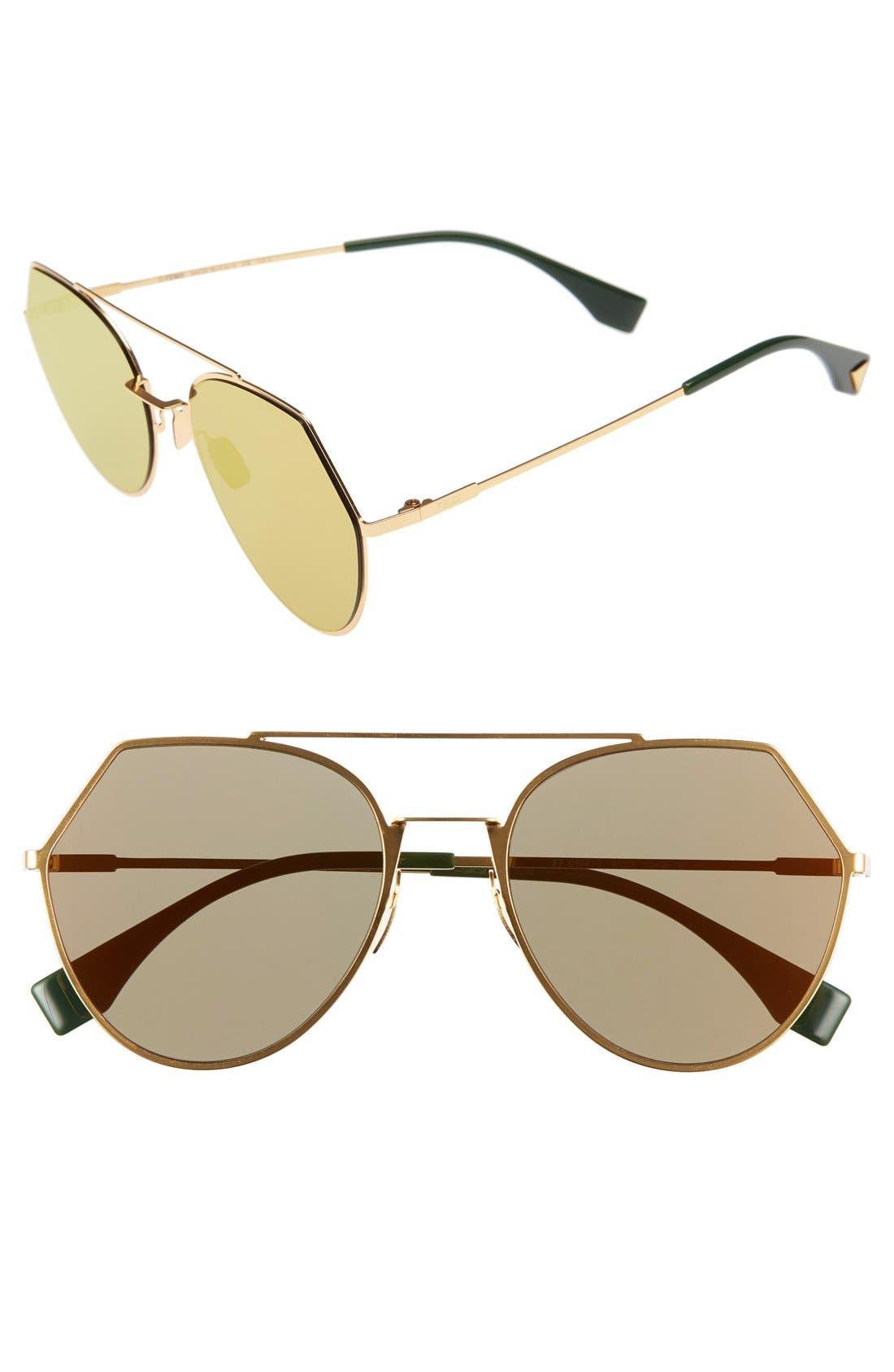 Eyeline 55mm Sunglasses,                             Main thumbnail 1, color,                             Yellow Gold