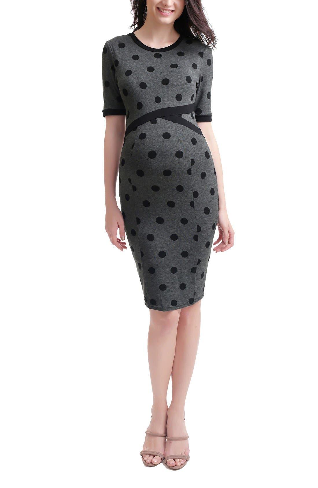 Ella Maternity Body-Con Dress,                         Main,                         color, Dark Heather Gray