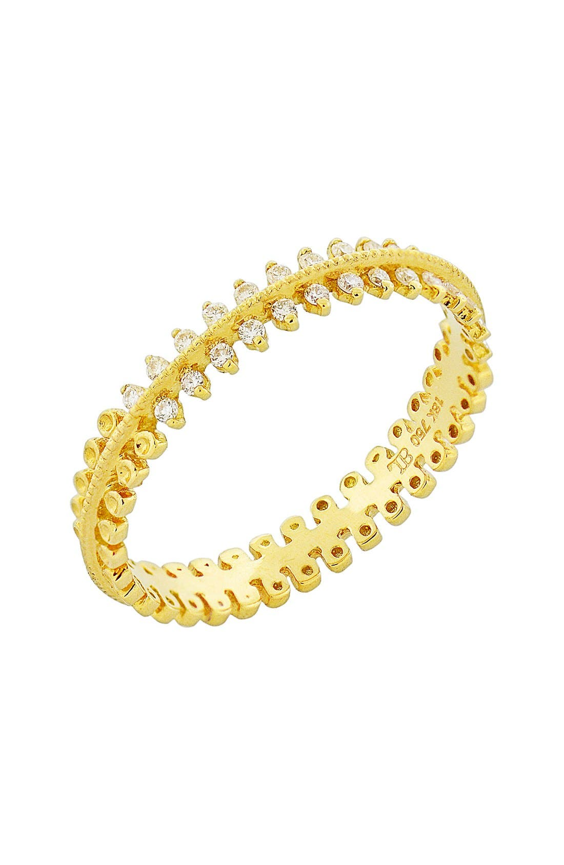 Stackable Three Row Diamond Band Ring,                         Main,                         color, Yellow Gold