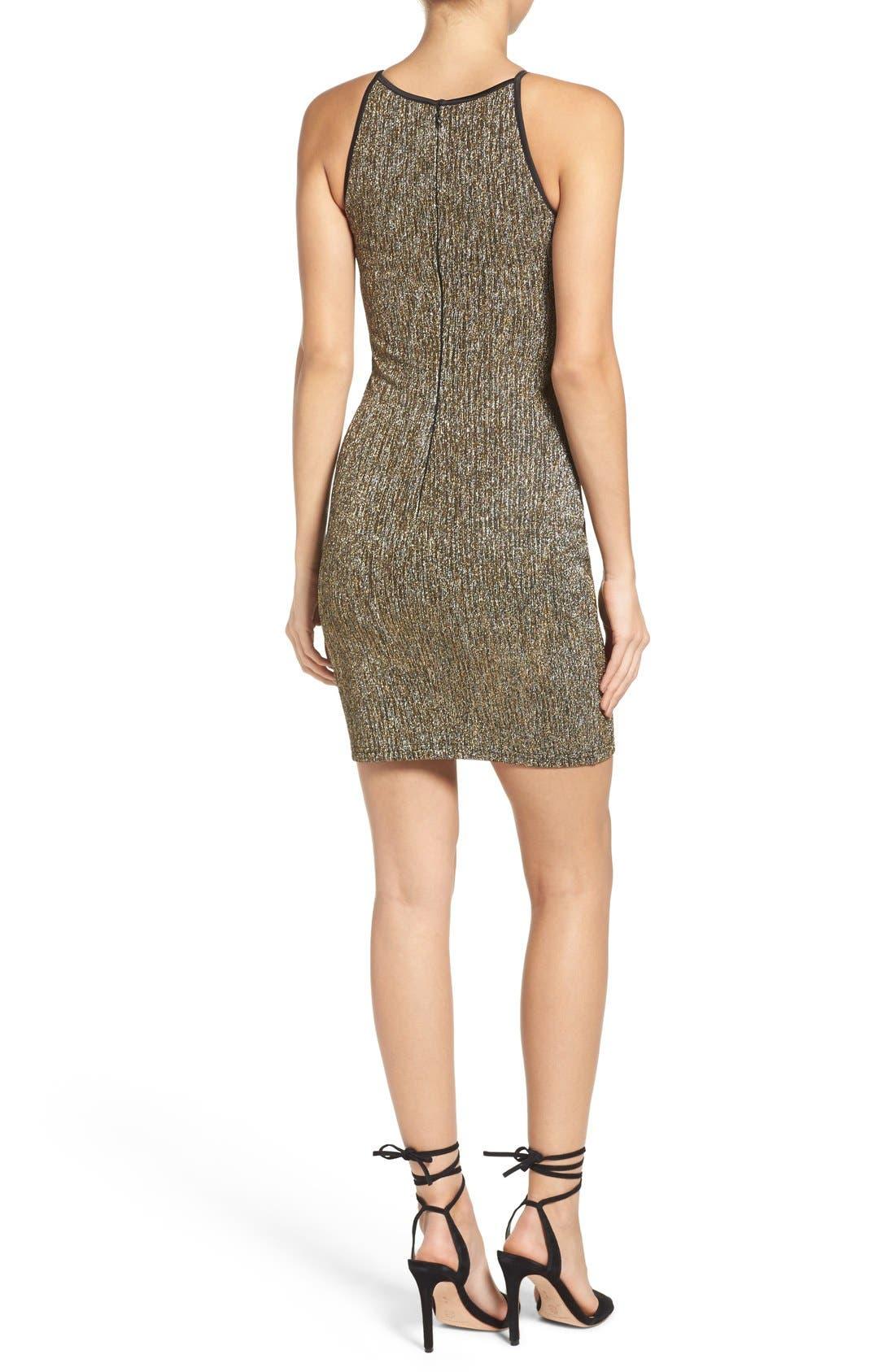 Alternate Image 2  - Gerylin Metallic Knit Body-Con Dress