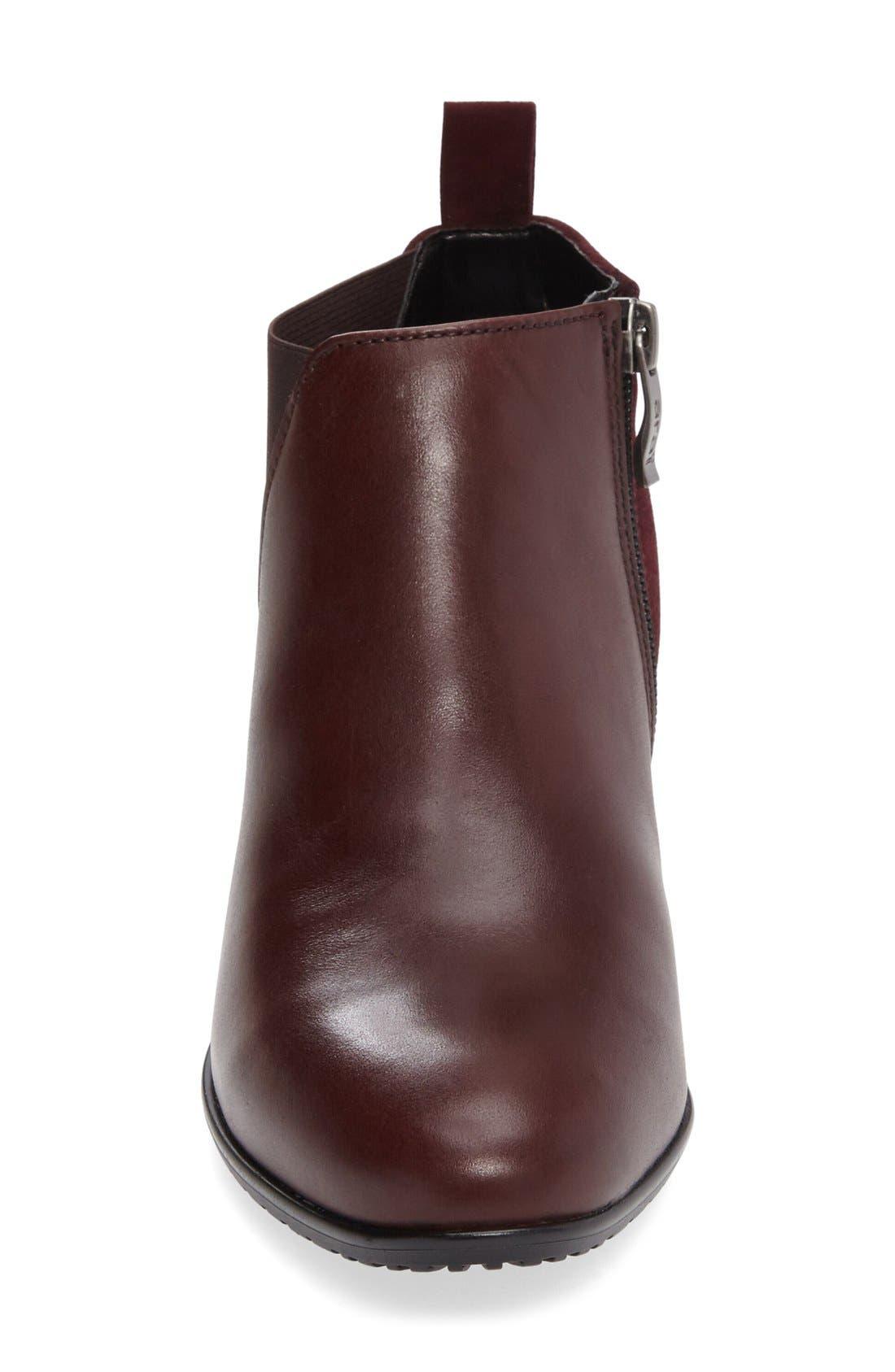 'Patty' Block Heel Boot,                             Alternate thumbnail 3, color,                             Burgundy Leather