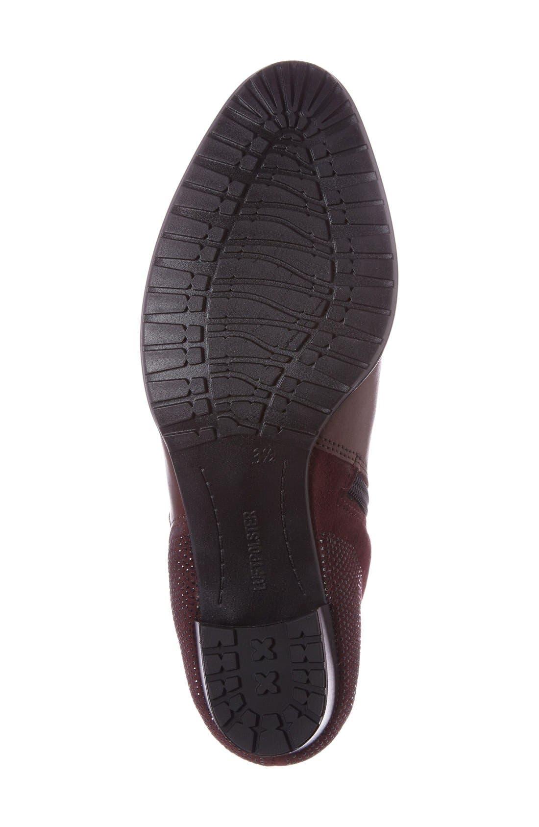 'Patty' Block Heel Boot,                             Alternate thumbnail 4, color,                             Burgundy Leather