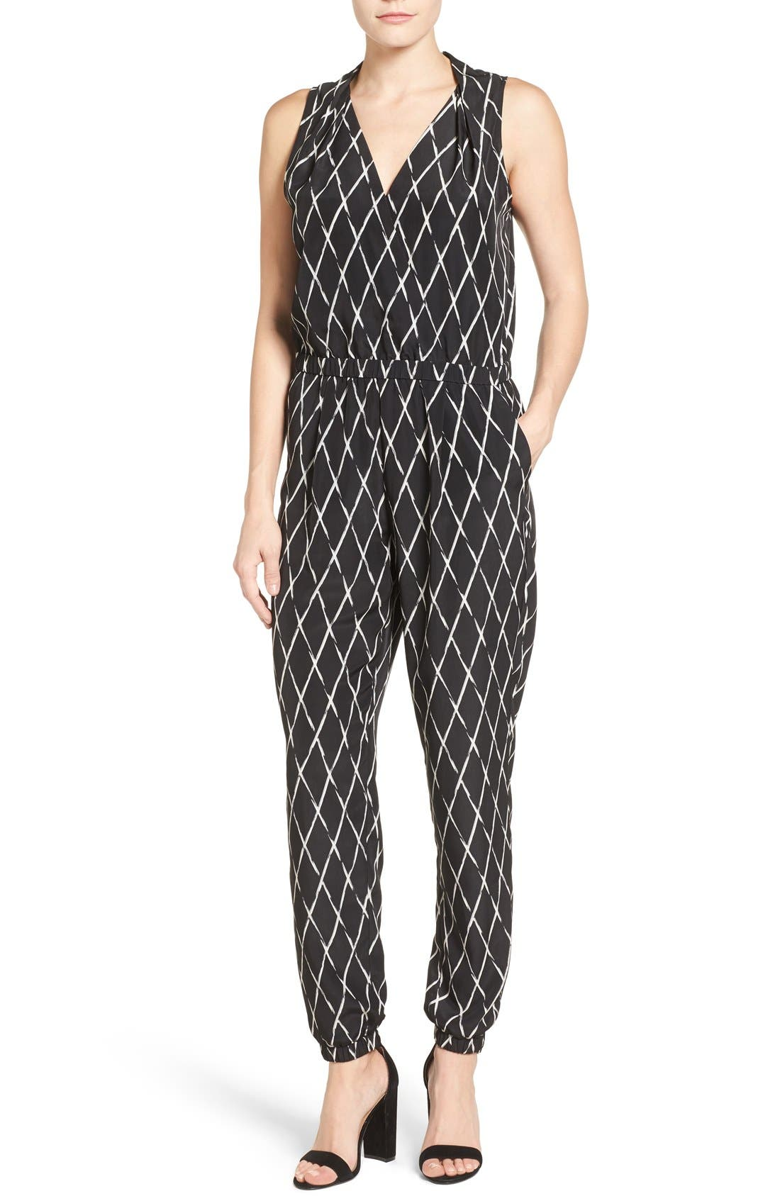 V-Neck Sleeveless Jumpsuit,                         Main,                         color, Black-Ivory Crossing Print