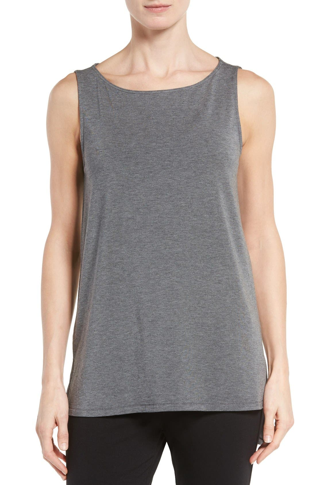Stretch Tencel<sup>®</sup> Jersey Tank,                         Main,                         color, Ash