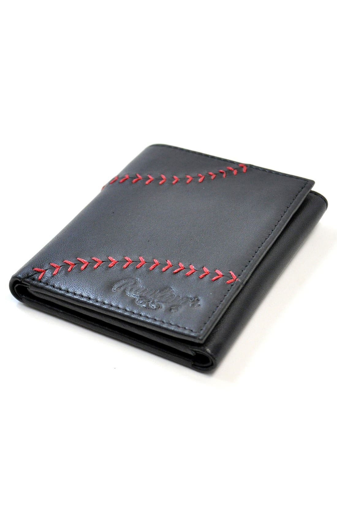 Baseball Stitch Leather Trifold Wallet,                             Alternate thumbnail 5, color,                             Black