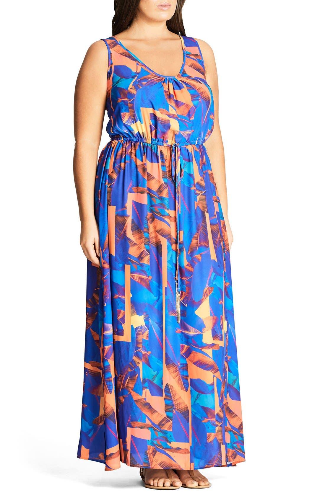 City Chic Palm Maxi Dress (Plus Size)