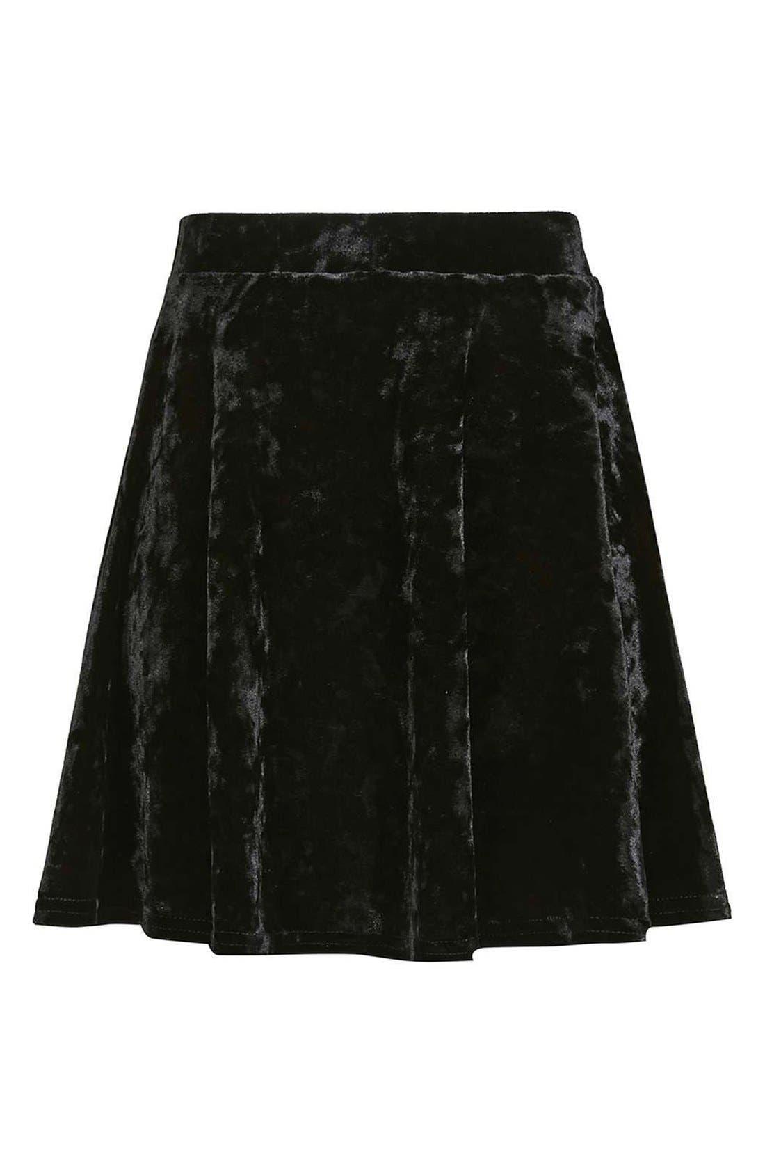 Alternate Image 4  - Topshop Velvet Skater Skirt