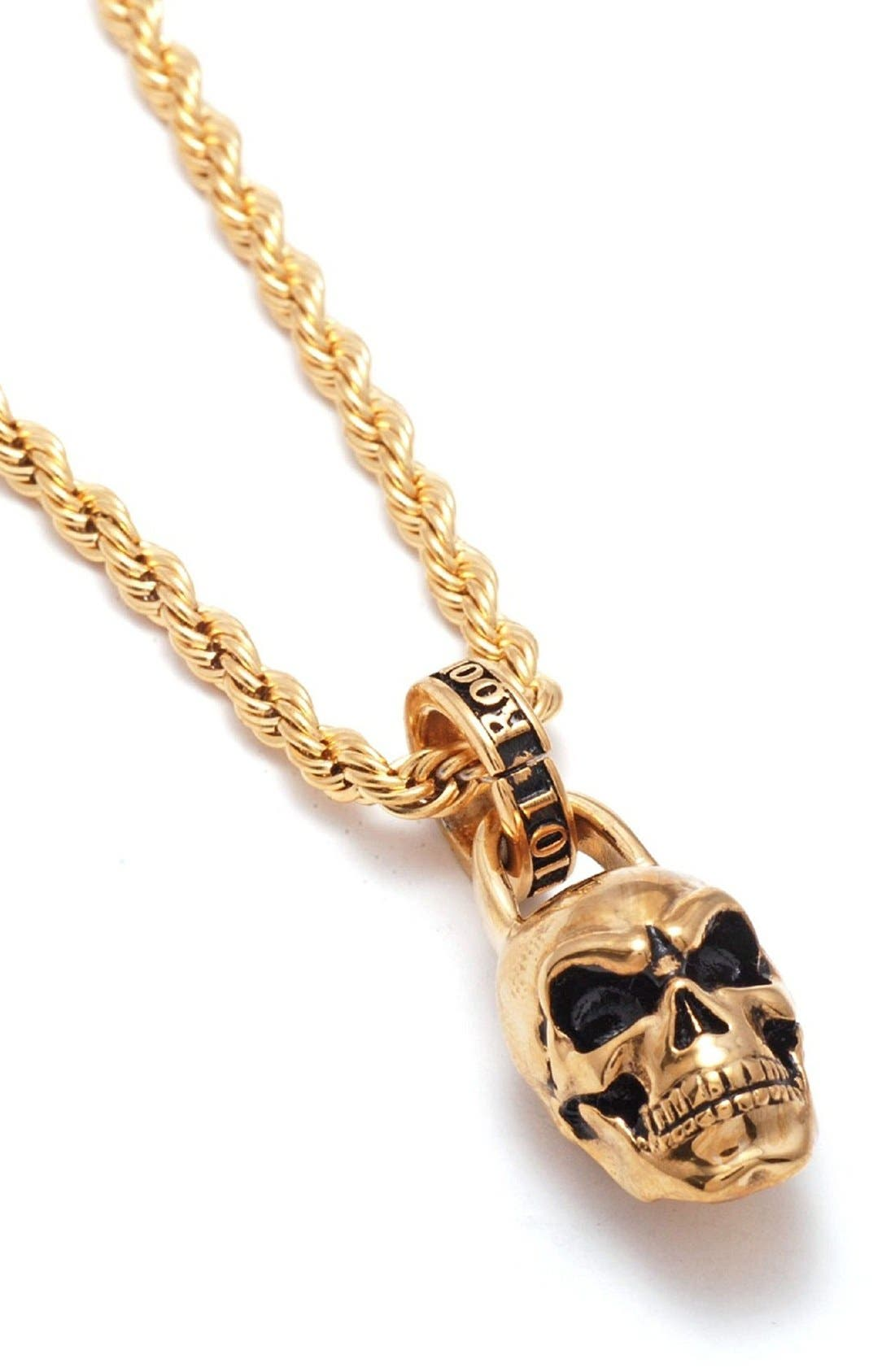 Skull Pendant Necklace,                             Main thumbnail 1, color,                             Gold