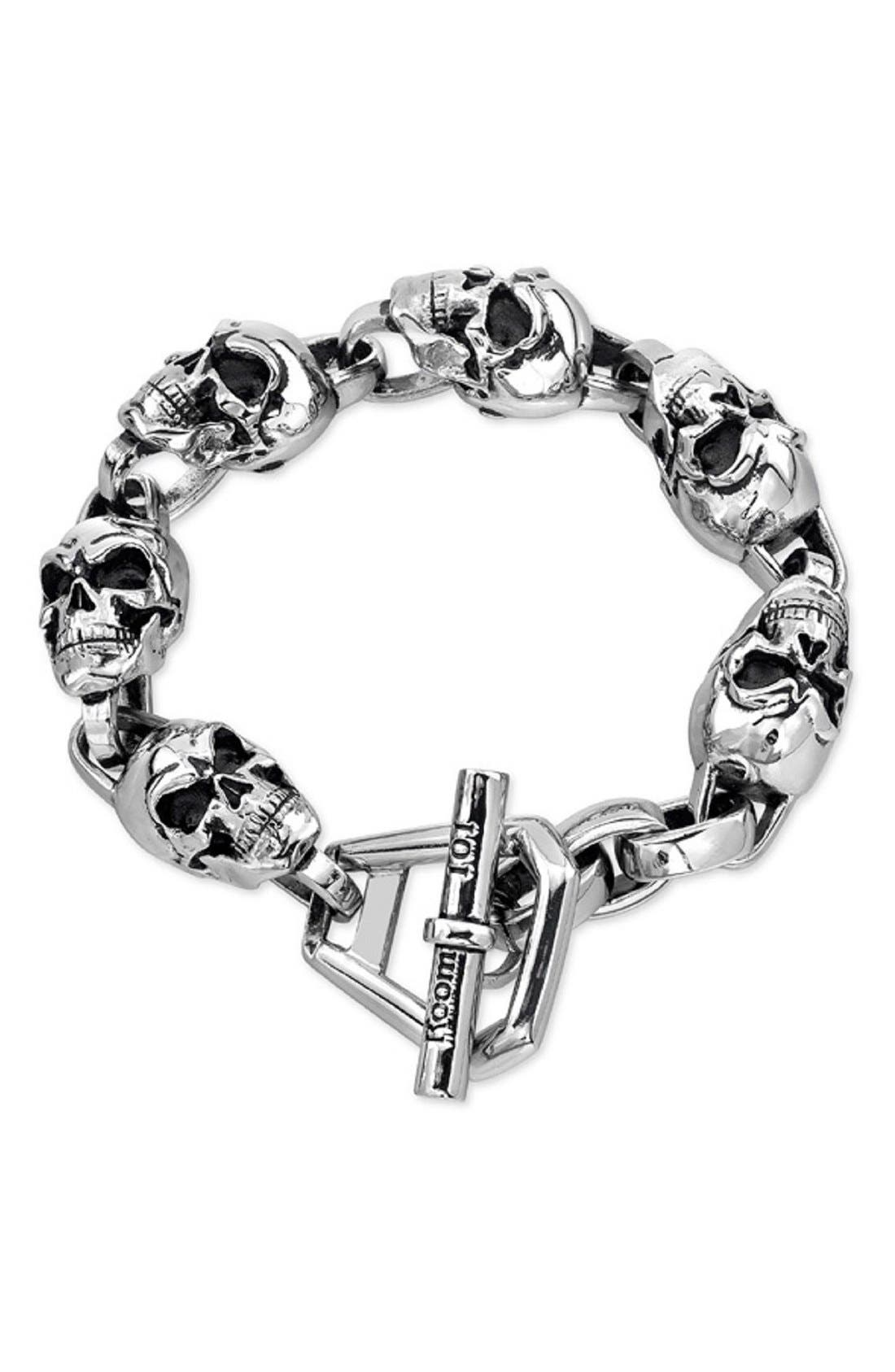 Skull Bracelet,                         Main,                         color, Silver