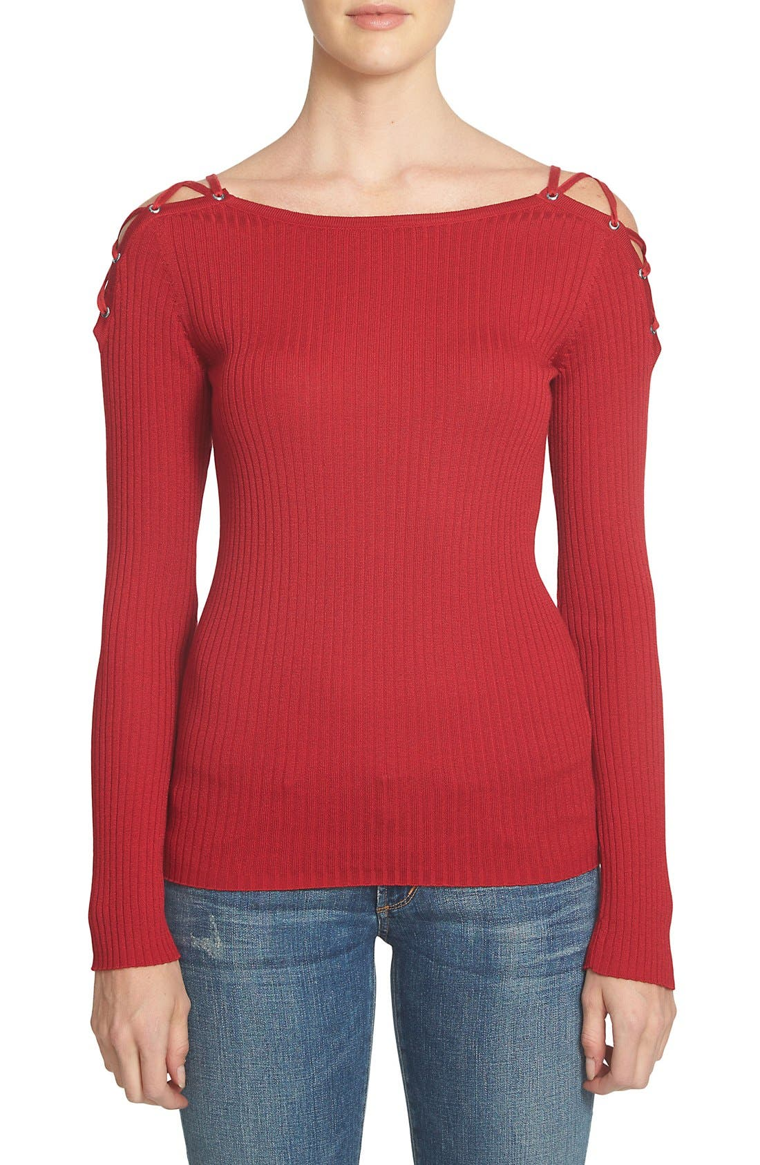 Main Image - 1.STATE Lace-Up Shoulder Cotton Sweater