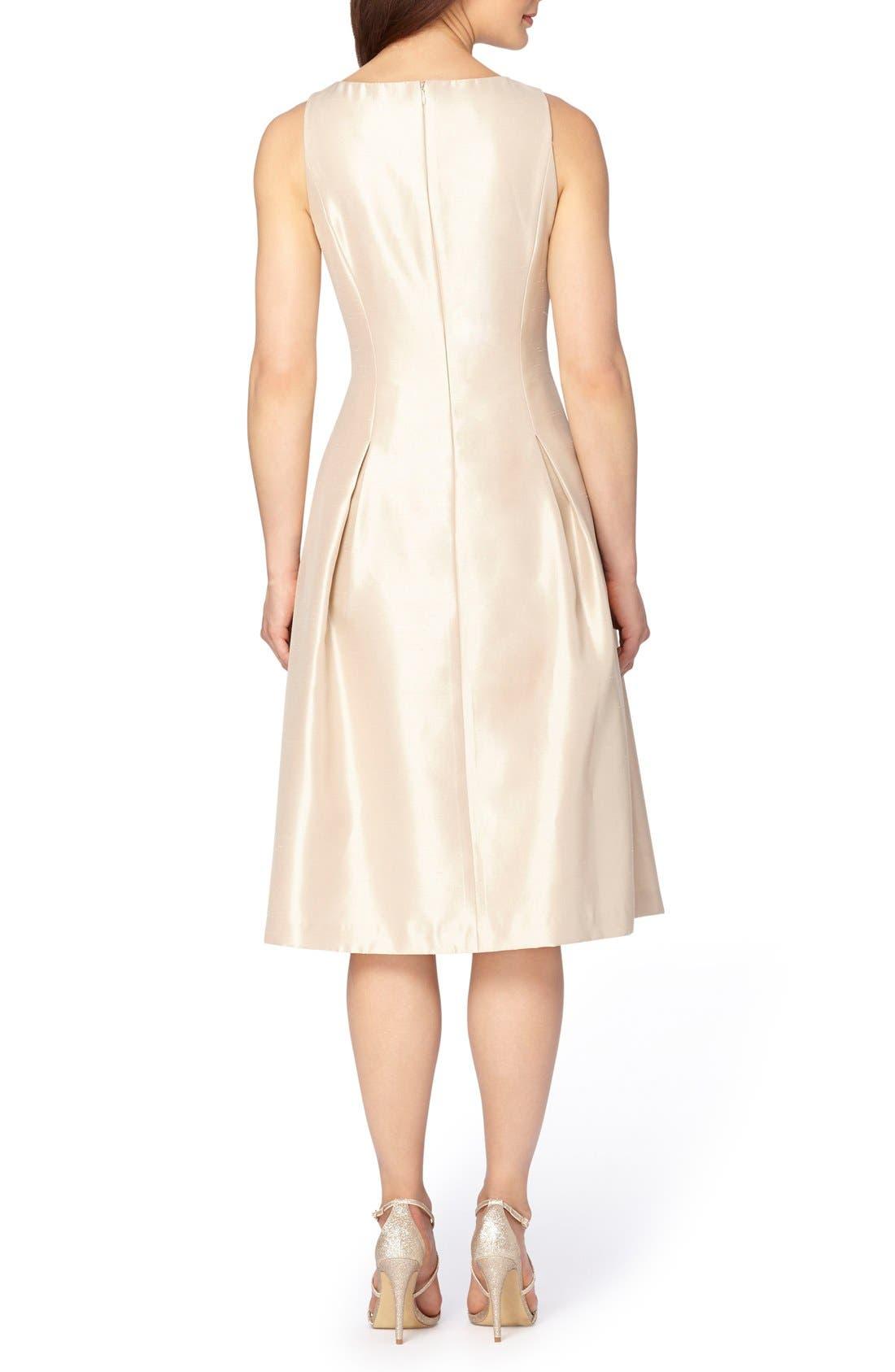 Embellished Fit & Flare Dress,                             Alternate thumbnail 2, color,                             Champagne