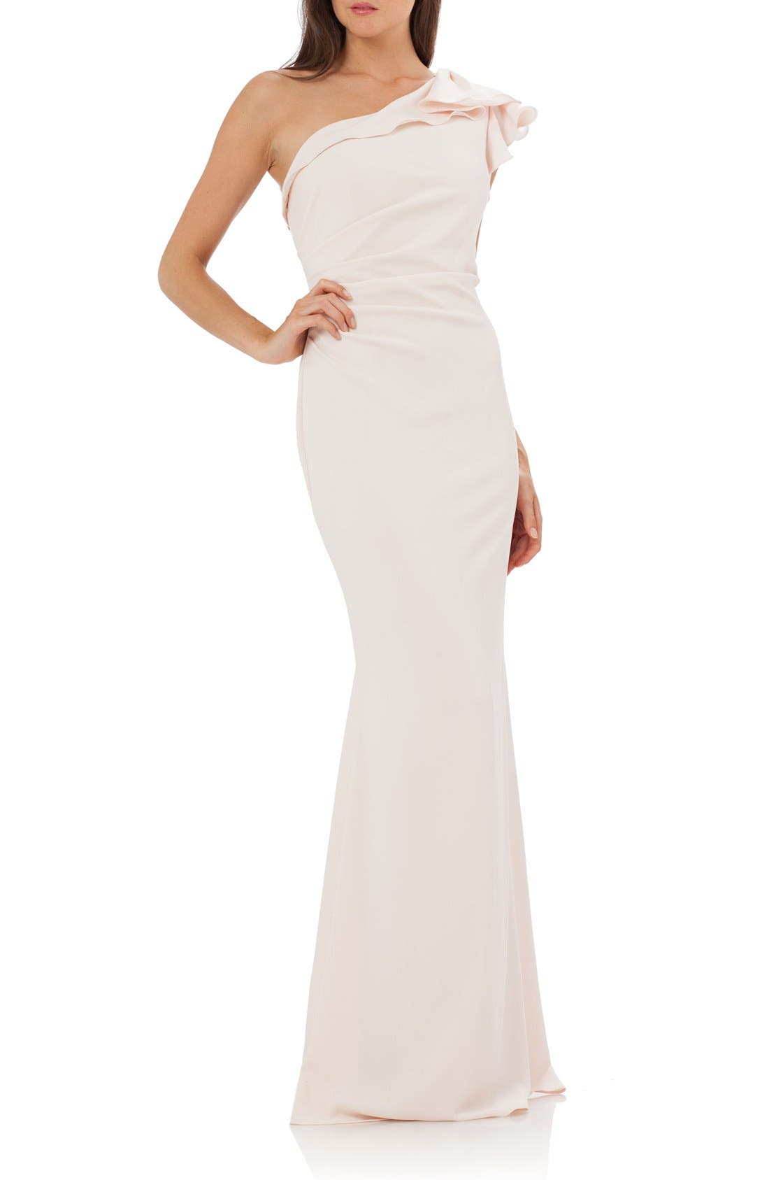 Alternate Image 1 Selected - Carmen Marc Valvo Infusion One-Shoulder Gown