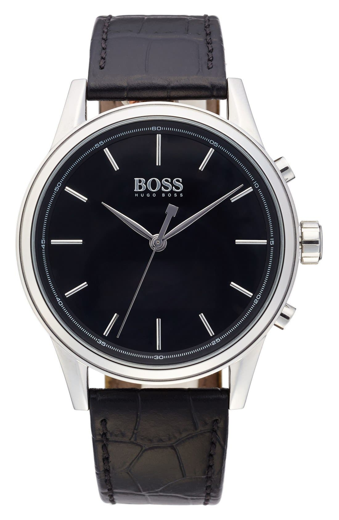 BOSS Classic Leather Strap Smart Watch, 44mm,                         Main,                         color, Black/ Black