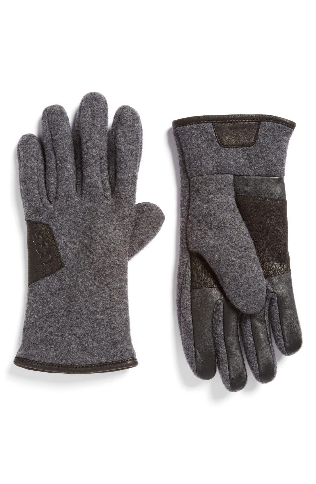 Wool Blend Tech Gloves,                             Main thumbnail 1, color,                             Charcoal