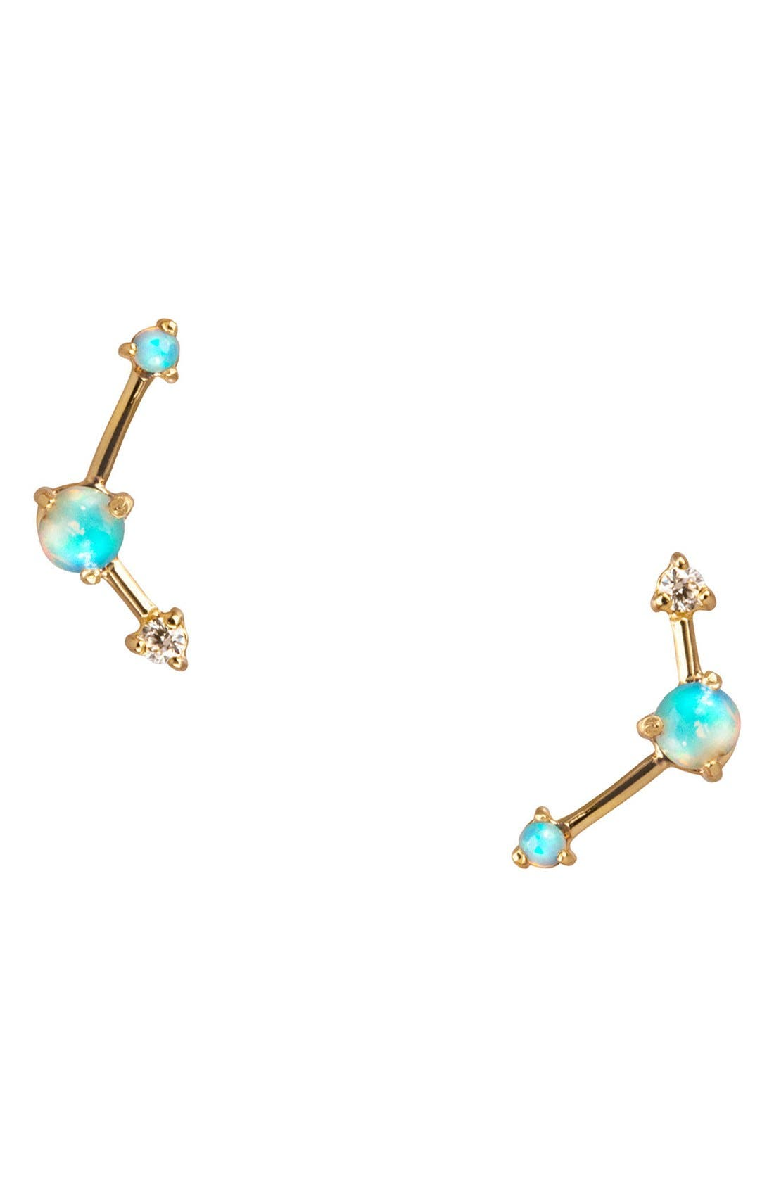 Main Image - WWAKE Counting Collection Three-Step Opal & Diamond Point Earrings