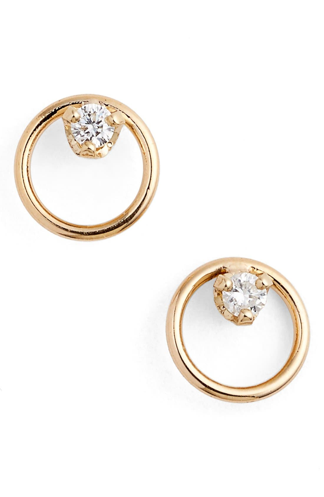 Diamond Circle Stud Earrings,                             Main thumbnail 1, color,                             Yellow Gold