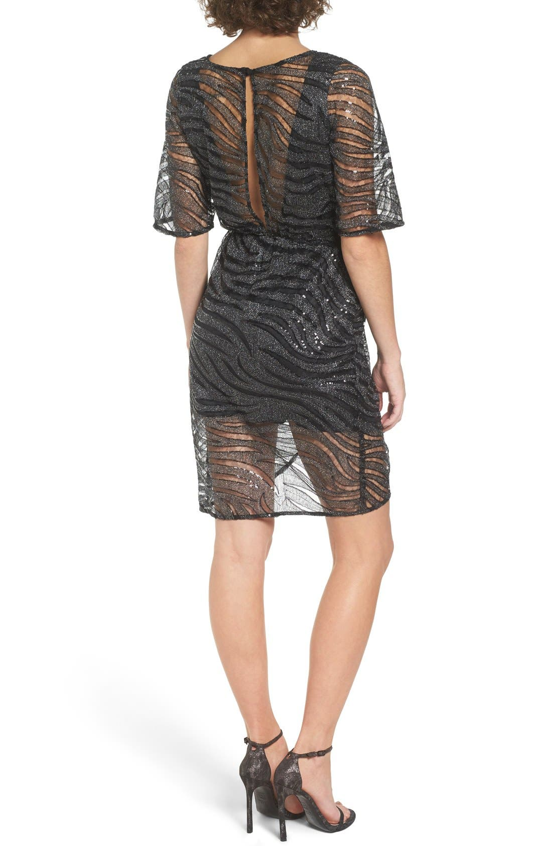 Alternate Image 2  - TFNC Gin Illusion Animal Print Dress