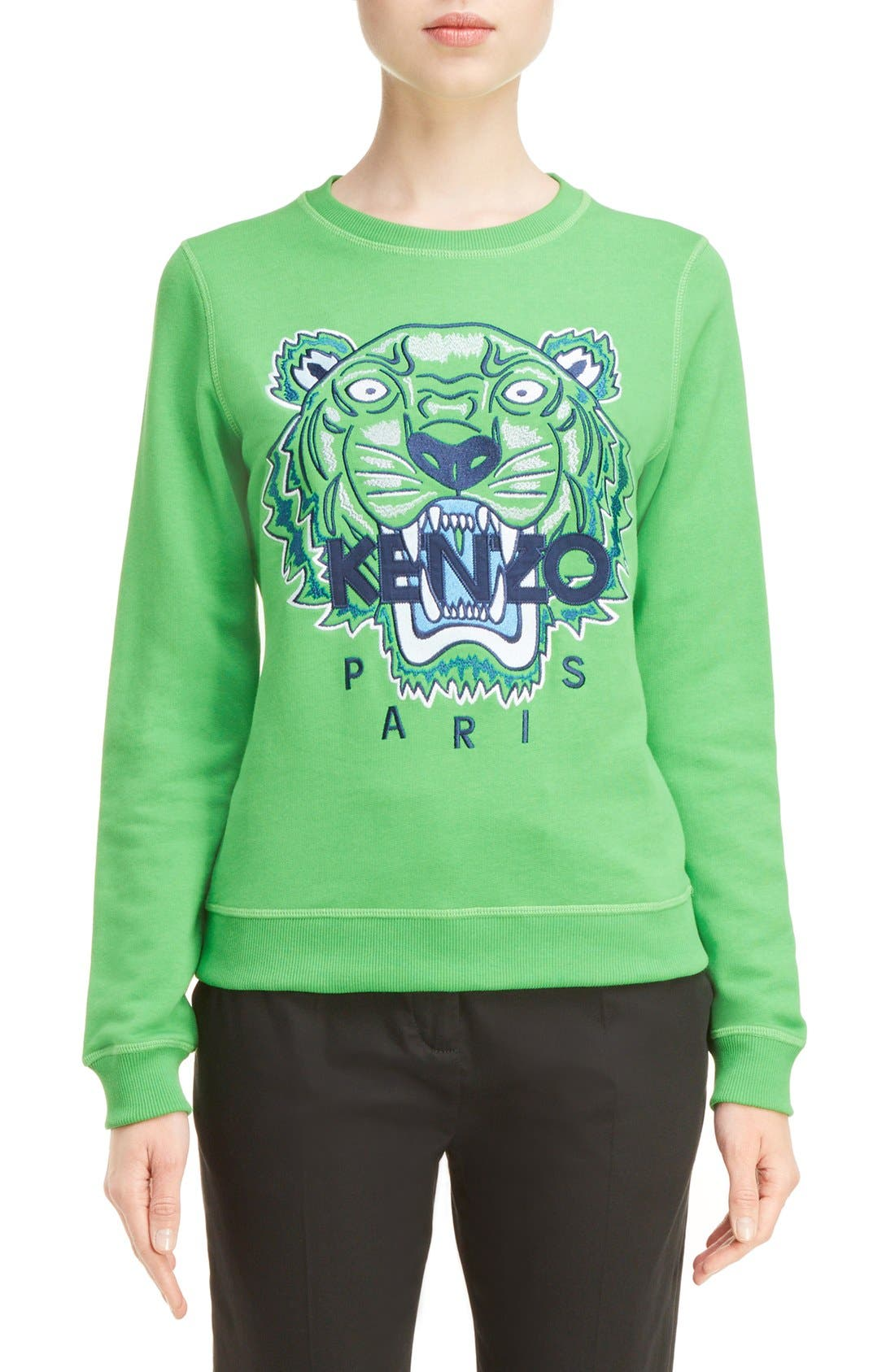 Embroidered Tiger Cotton Sweatshirt,                         Main,                         color, Grass Green