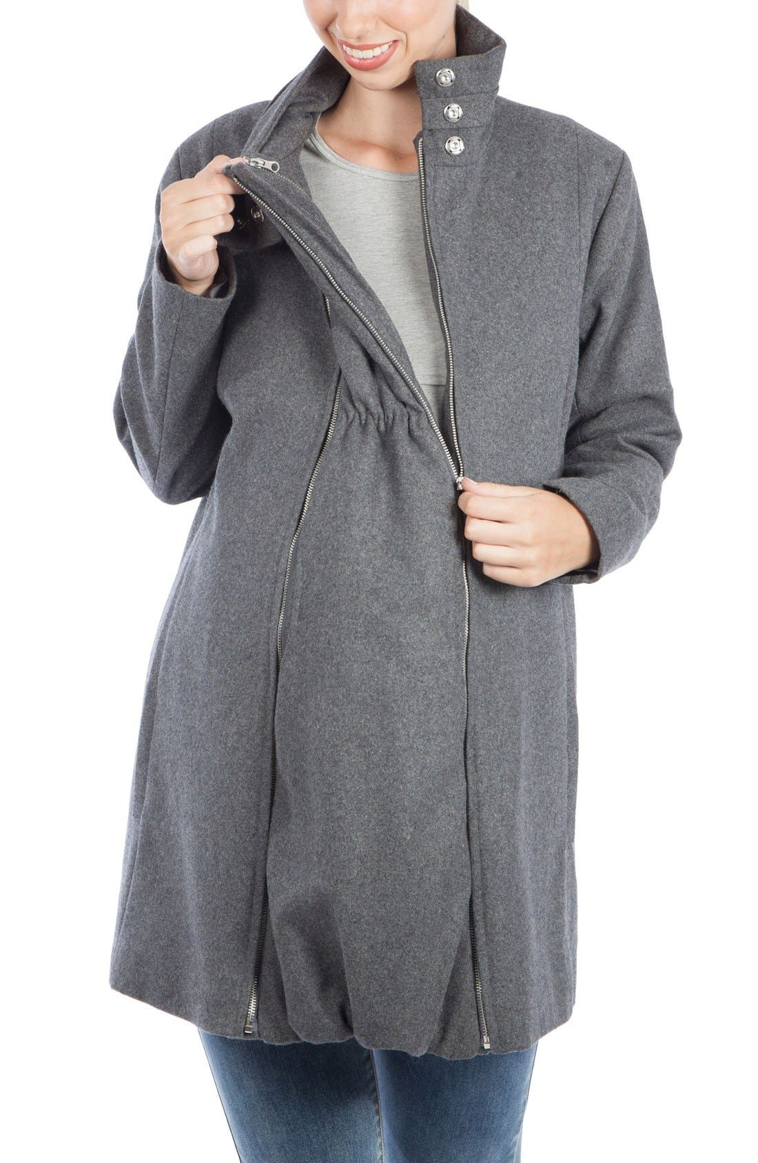 A-Line Convertible 3-in-1 Maternity Swing Coat,                             Alternate thumbnail 3, color,                             Grey