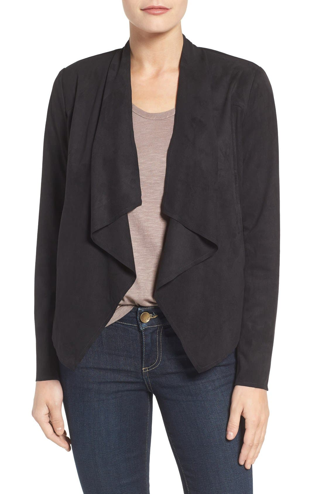 Tayanita Faux Suede Jacket,                         Main,                         color, Black