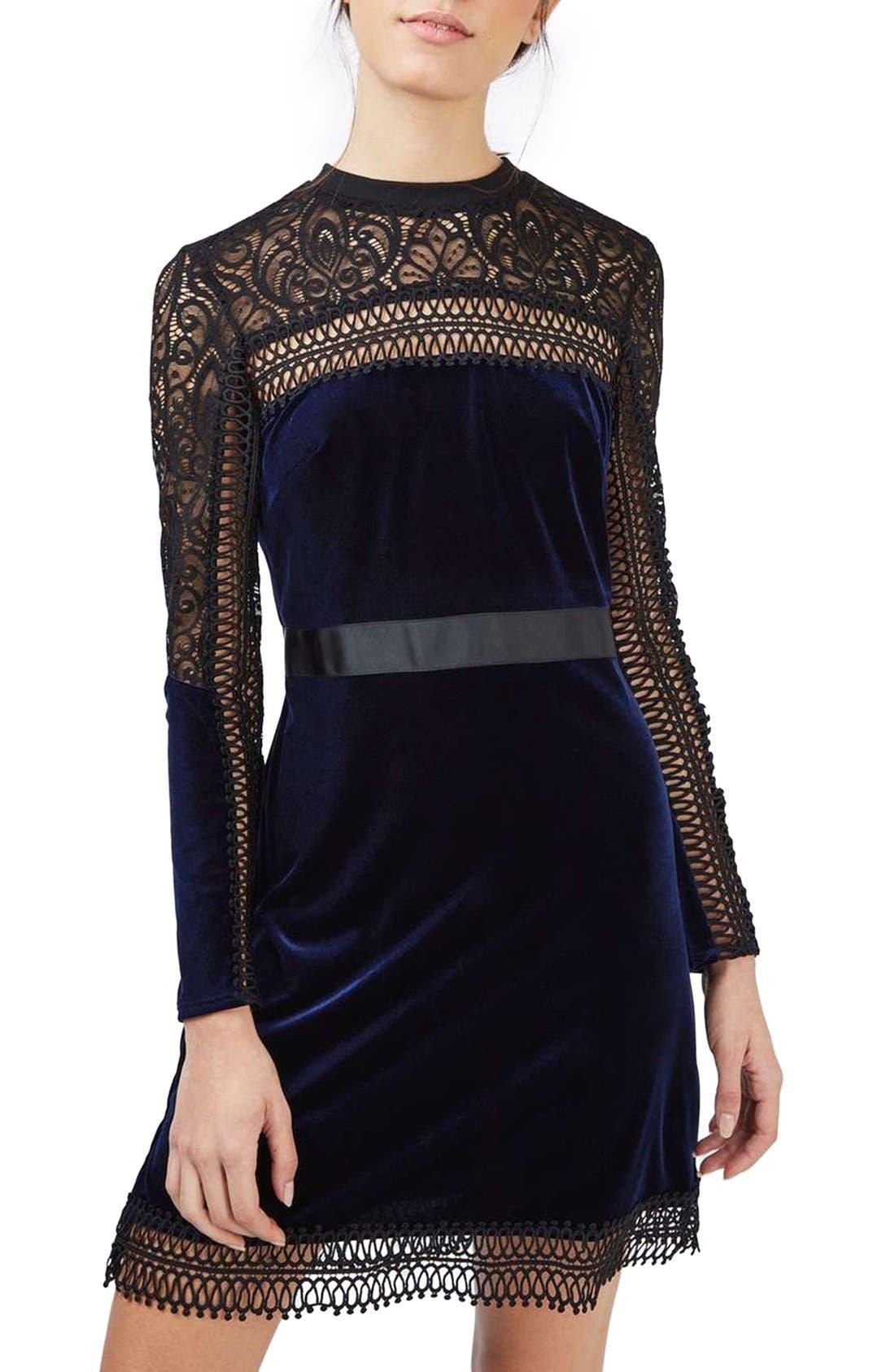 Main Image - Topshop Lace & Velvet Dress