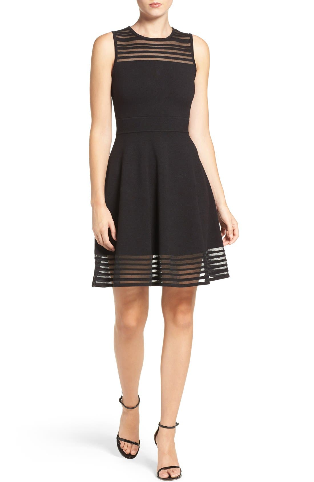 Alternate Image 4  - Eliza J Stripe Fit & Flare Dress (Regular & Petite)