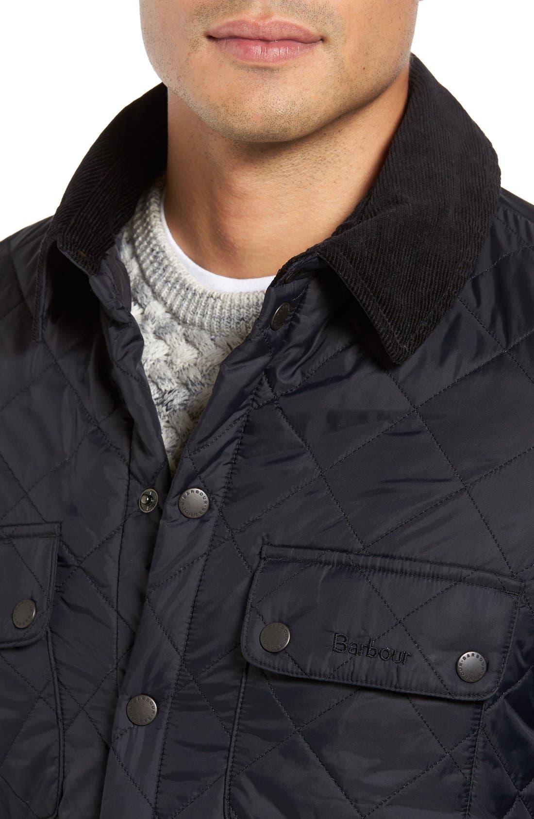 'Akenside' Regular Fit Quilted Jacket,                             Alternate thumbnail 4, color,                             Black