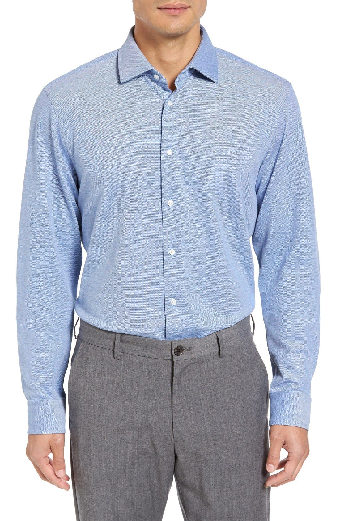 Trim Fit Knit Dress Shirt,                         Main,                         color, Blue Provence