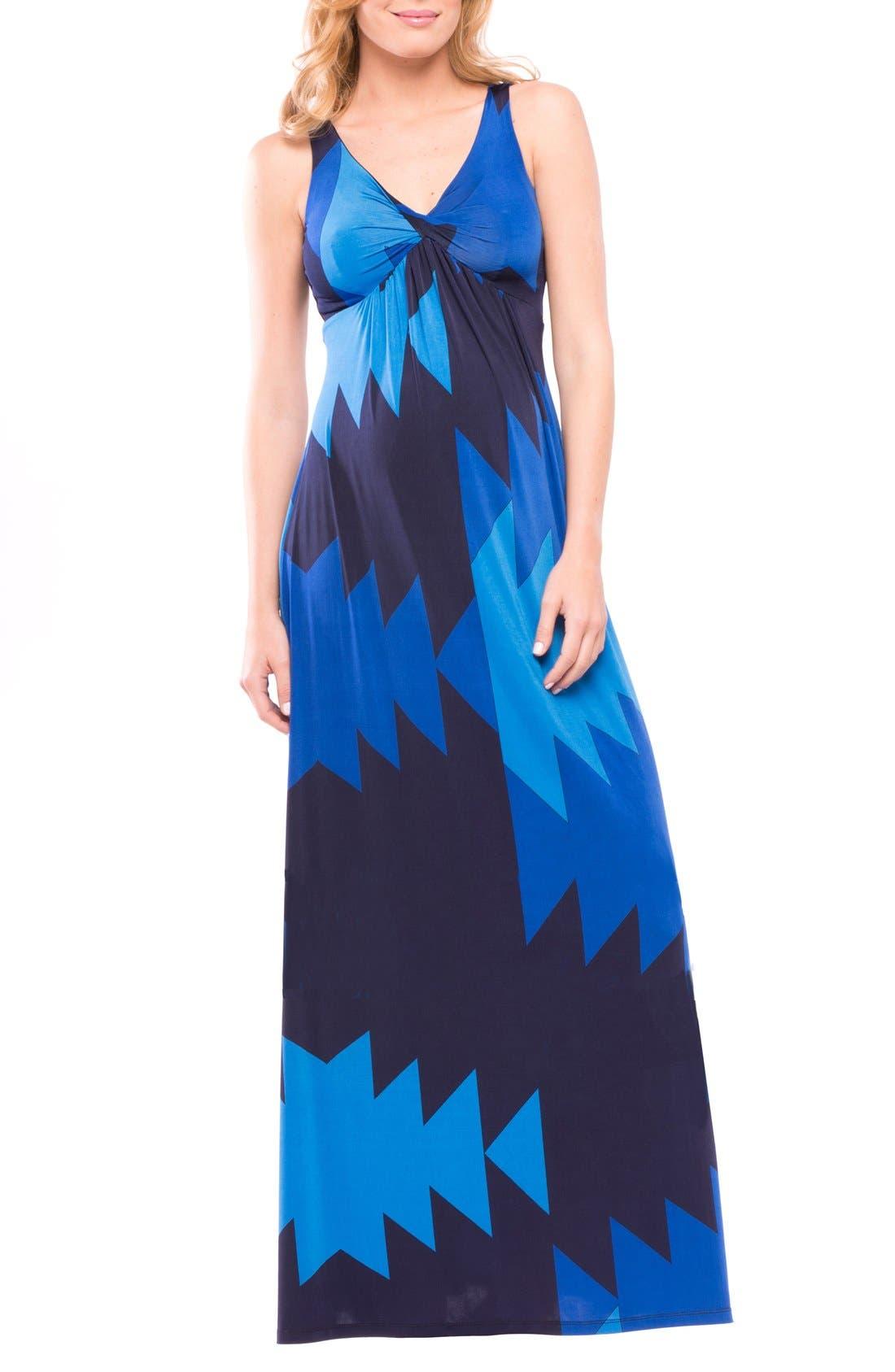 Olivia Sleeveless Maternity Maxi Dress,                         Main,                         color, Blue Aztec Print