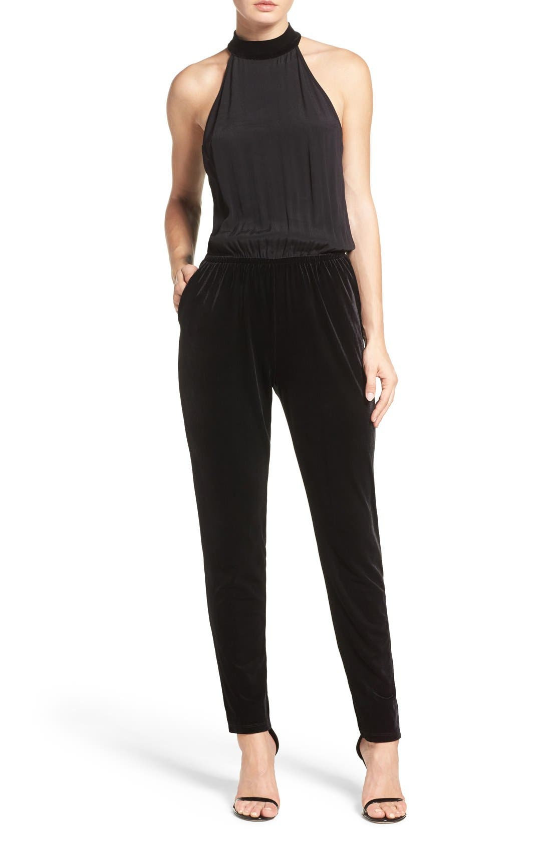 Mixed Media Jumpsuit,                         Main,                         color, Black
