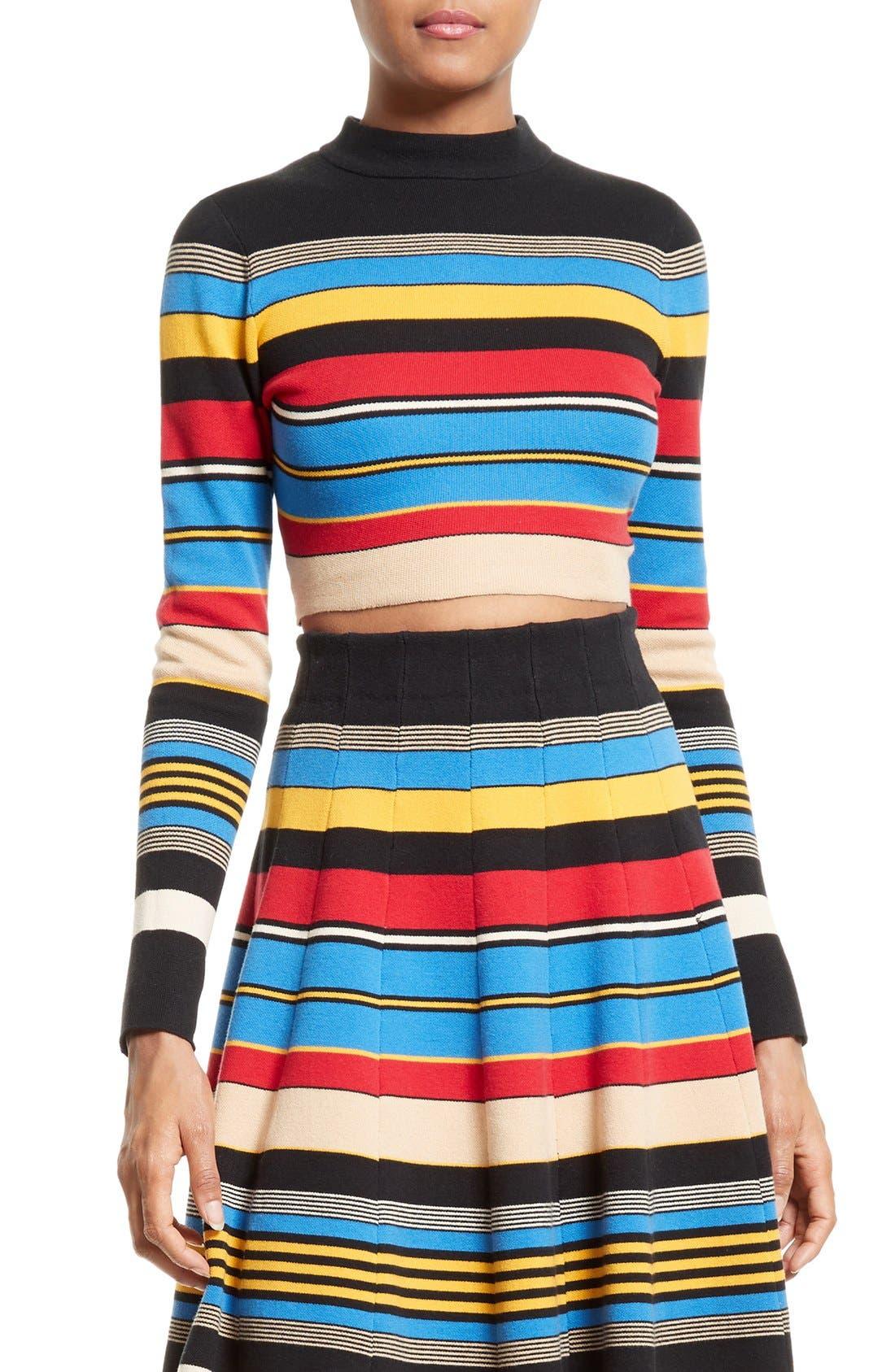Stripe Crop Top,                         Main,                         color, Multi