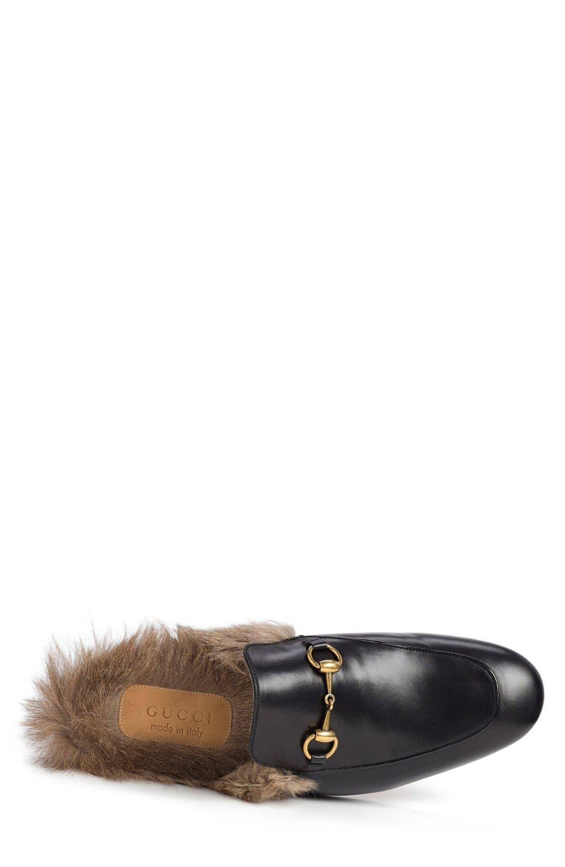 Princetown Genuine Shearling Slipper,                             Alternate thumbnail 3, color,                             Blk-Tan