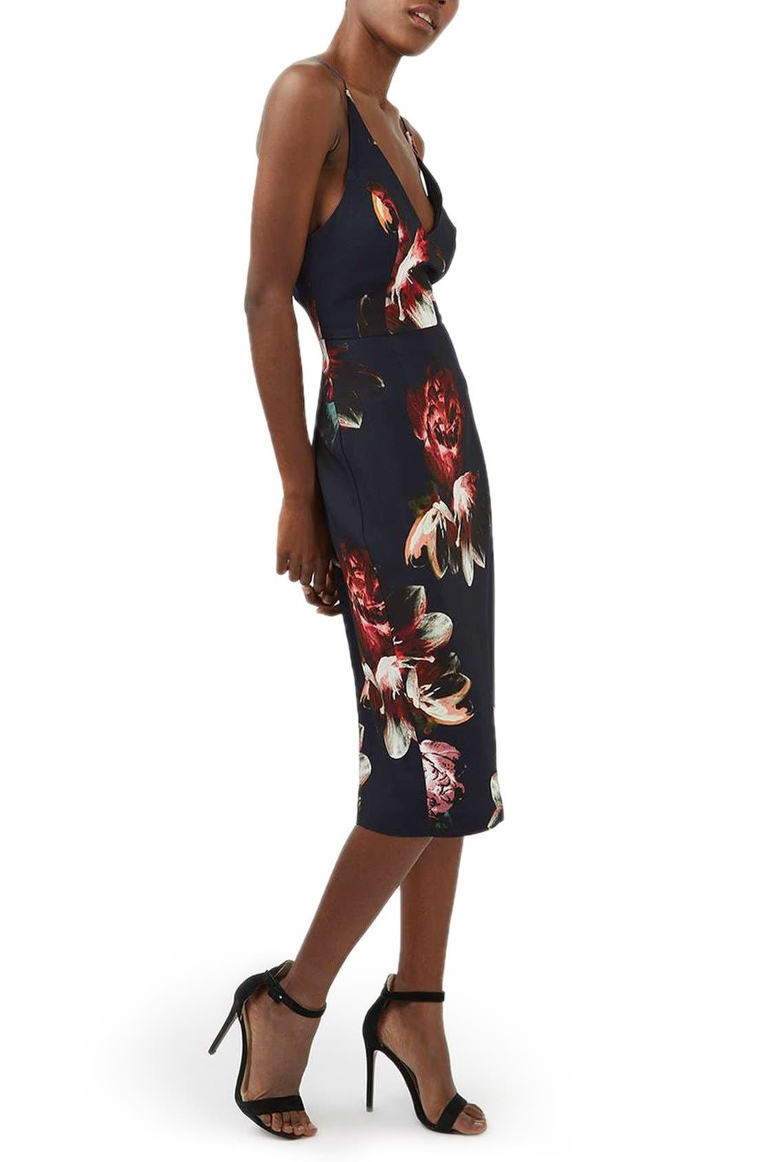Main Image - Topshop Floral Plunge Body-Con Midi Dress