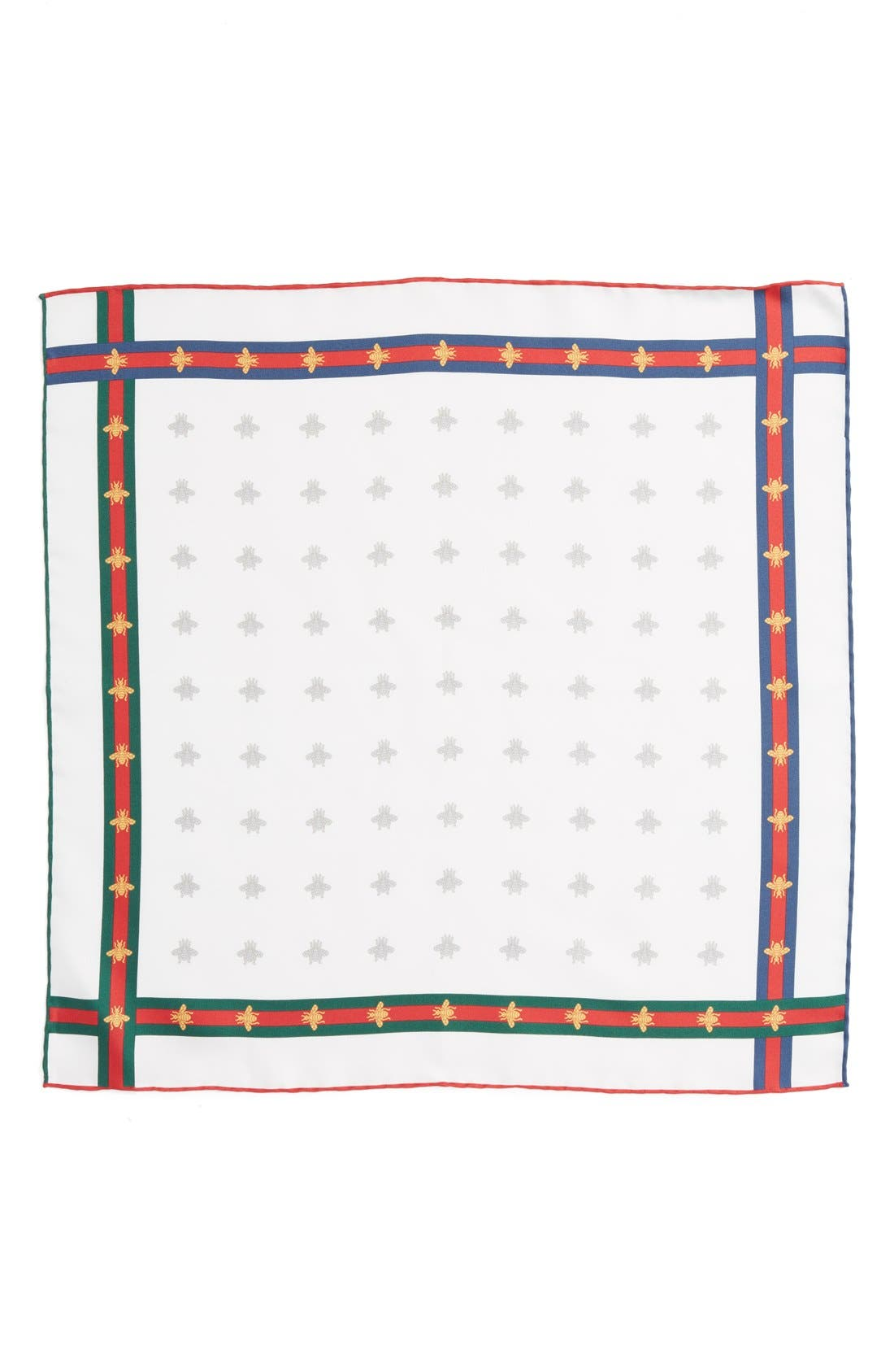 Runebis Silk Twill Pocket Square,                             Alternate thumbnail 2, color,                             White