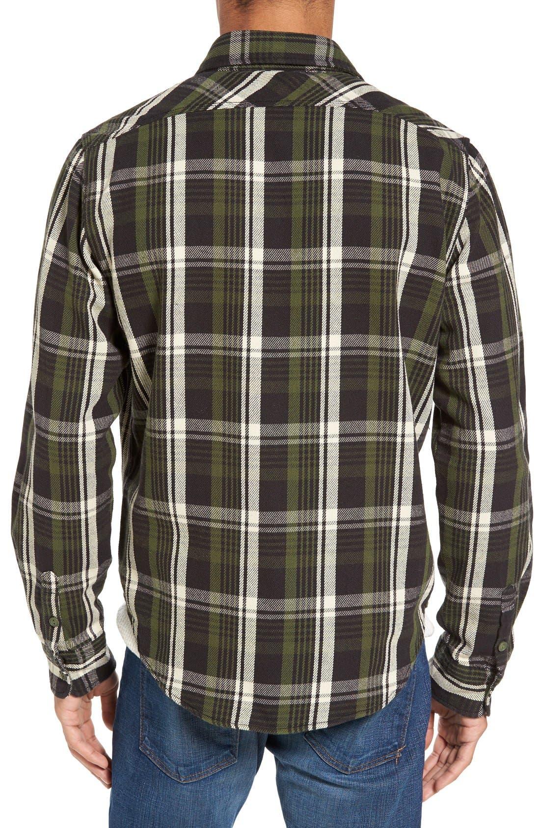 Classic Fit Plaid Flannel Shirt,                             Alternate thumbnail 2, color,                             Green