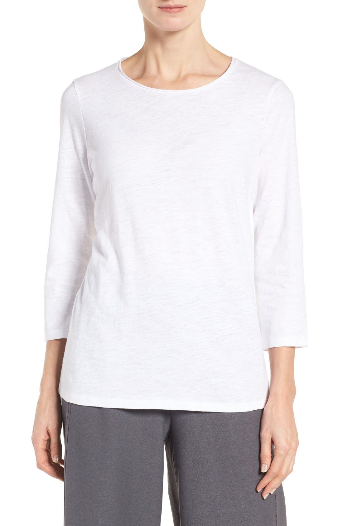 Eileen Fisher Slubby Organic Cotton Jersey Top