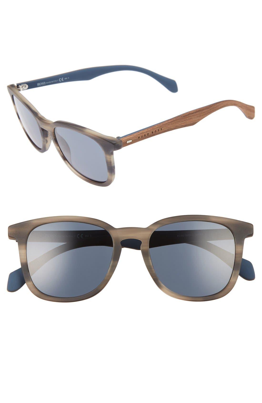 843/S 52mm Sunglasses,                             Main thumbnail 1, color,                             Horn Brown/ Blue