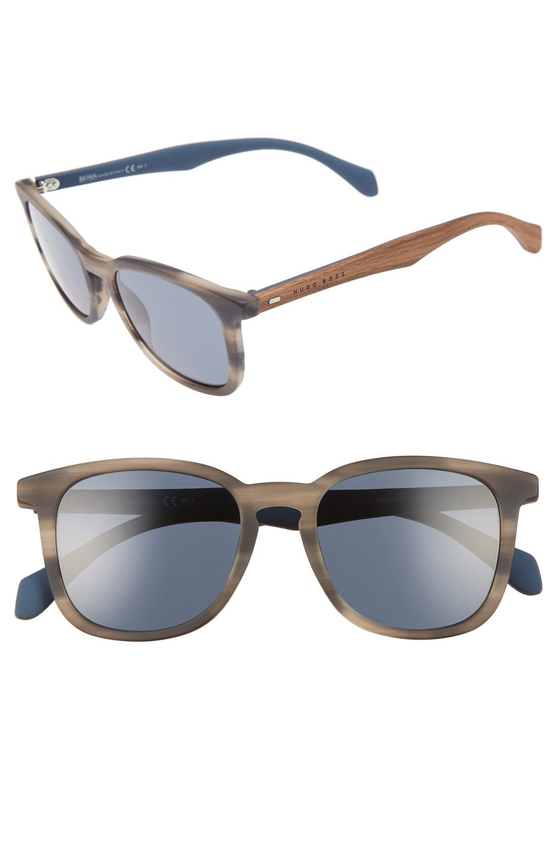 843/S 52mm Sunglasses,                         Main,                         color, Horn Brown/ Blue