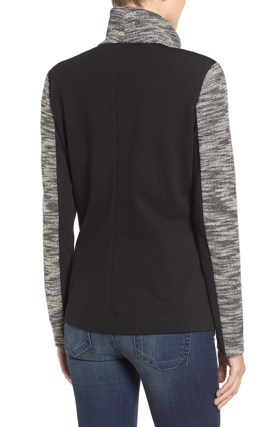 Alternate Image 2  - Two by Vince Camuto Asymmetrical Mixed Media Jacket (Regular & Petite)