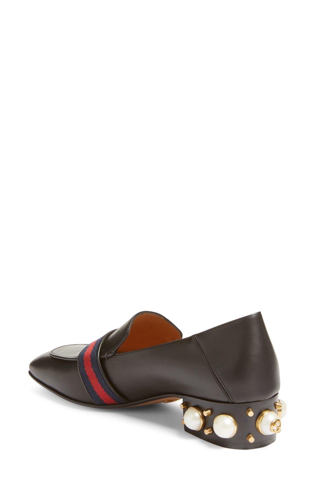Peyton Embellished Heel Loafer,                             Alternate thumbnail 2, color,                             Black Leather