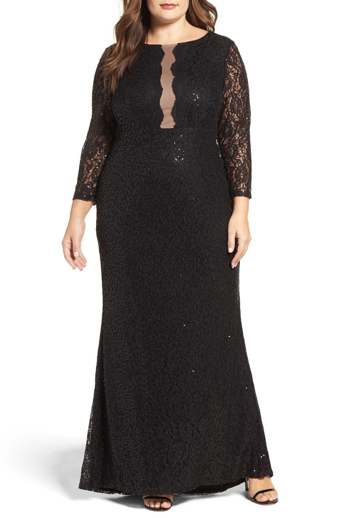 Sequin Lace A-Line Gown,                         Main,                         color, Black