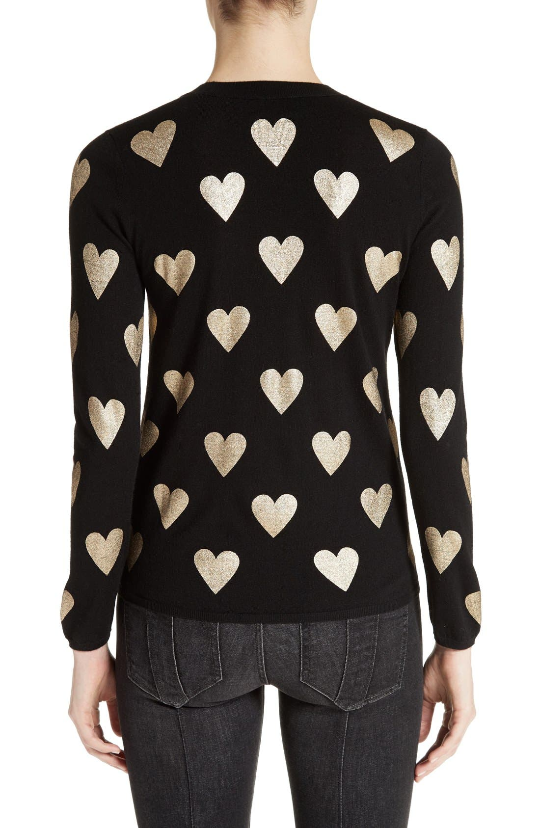 Alternate Image 2  - Burberry Bilboa Foil Heart Wool Sweater