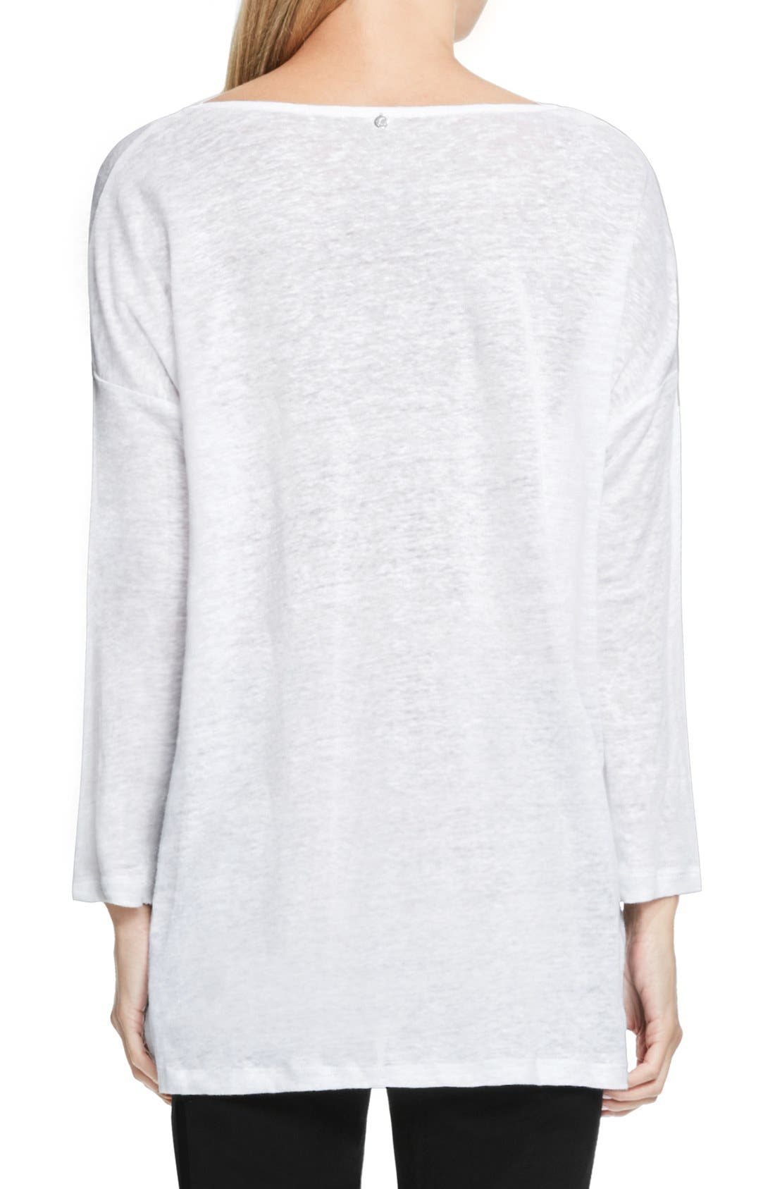 Alternate Image 2  - Two by Vince Camuto Seam Detail Linen Tee