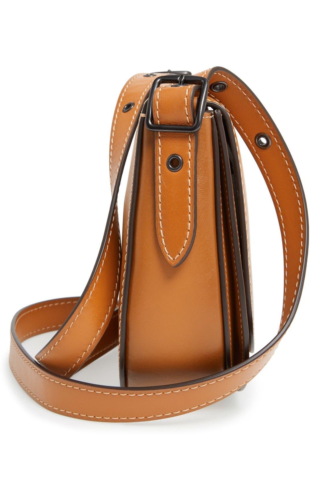 '23' Leather Saddle Bag,                             Alternate thumbnail 5, color,                             Butterscotch