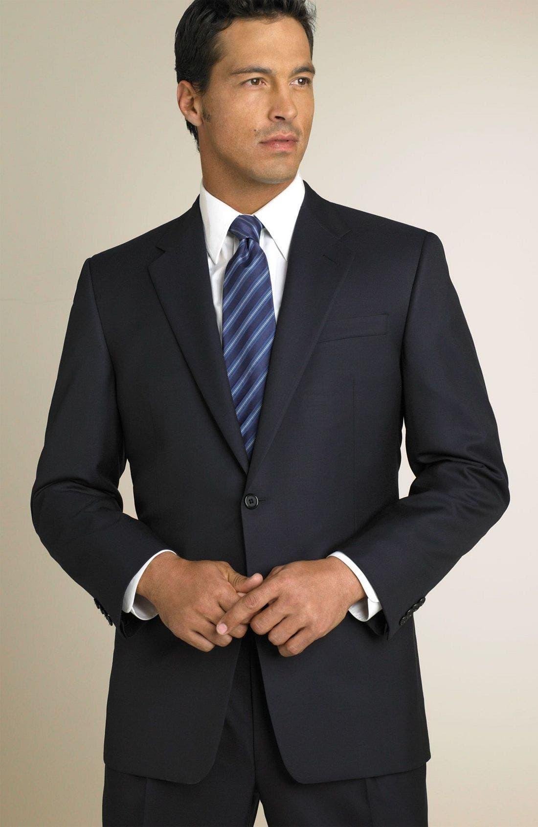 'Madison' Navy Loro Piana Wool Suit,                             Main thumbnail 1, color,                             Navy