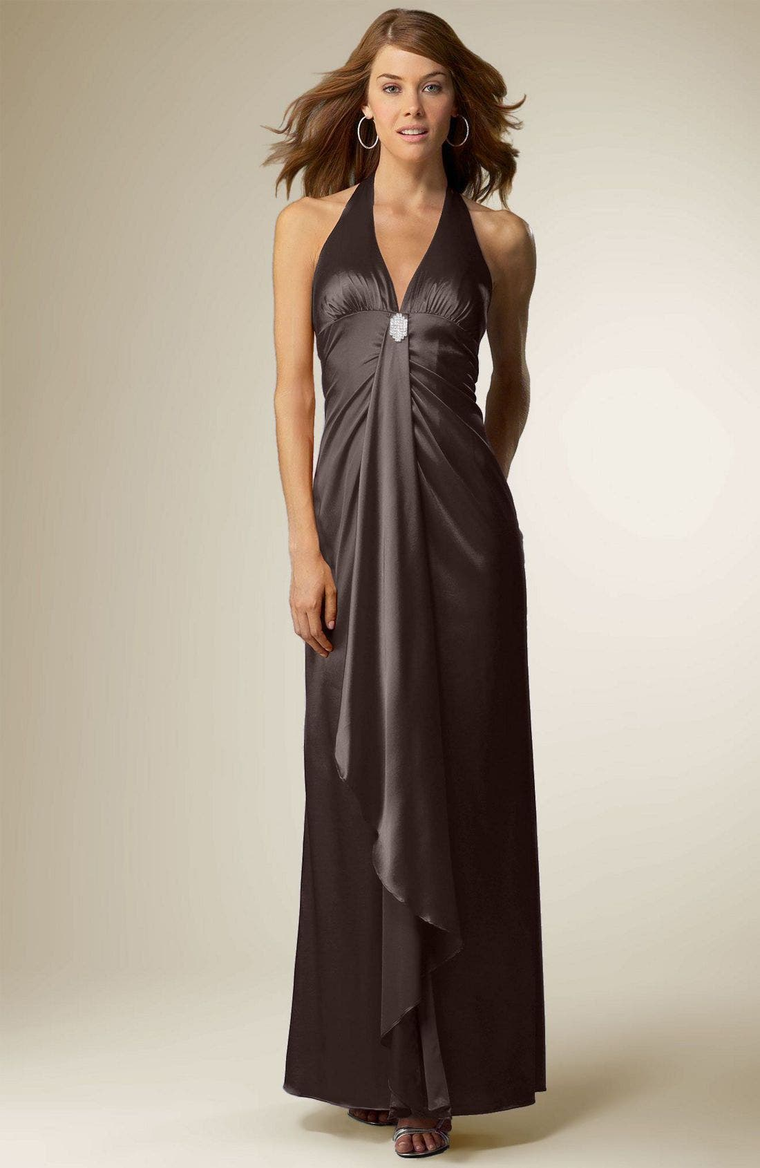 Main Image - Sean Collection Stretch Satin Halter Gown with Brooch