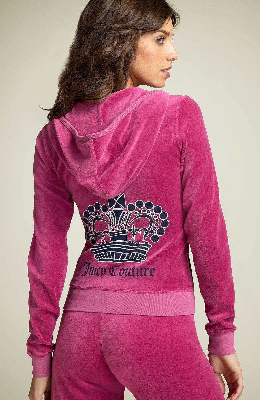 Main Image - Juicy Couture Crown Logo Velour Hoody (Nordstrom Exclusive)